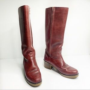 Vintage LL Bean red burgundy heel tall boots 10